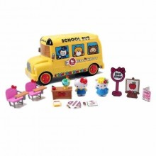 Jada Toys Hello Kitty School Bus Die-cast Genuine License Product Yellow Model Collection Christmas New Gift
