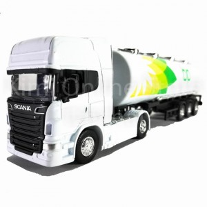 Welly 1:64 Die-cast Scania V8 R730 BP Oil Tanker Truck White Model Collection