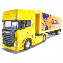 Welly 1:64 Die-cast Scania V8 R730 Container Truck Yellow Color Model Collection
