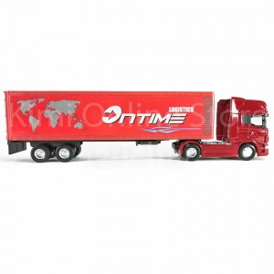 Welly 1:64 Die-cast Scania V8 R730 Container Truck Red Color Model Collection