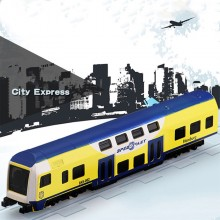 Die-cast BKK 6 inch Hamburg Speed Fast Train City Express Yellow Blue Toy Model