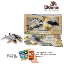 Atlentic Ocean Wenno Eco Non-Toxic Animal Play-set Manta Ray Dolphin Turtle New