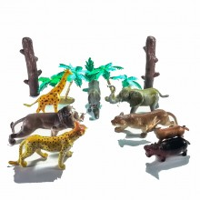13 pcs Jungle Animal Cylinder Green Hippopotamus Cheetah Genuine Authentic Gift