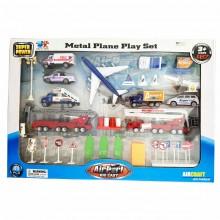Toys 1:87 Airport Play Set Diecast Airplane 40pcs Fire Ladder Ambulance trucks