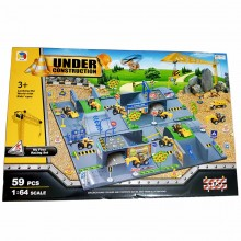 3D Construction 59pcs play set 1:64 Crane Plane Truck bulldozer Crawler Heli toy
