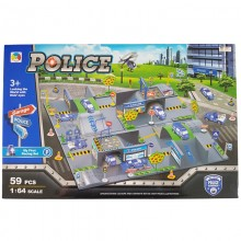 Police Play Set Toys 59pcs Racing 3D 1:64 Garage Parking helicopter truck Cars