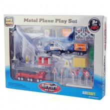Airport Toy Plane Play Set 1:87 Tuck Aircraft Fire Ladder Truck Ambulance Figure