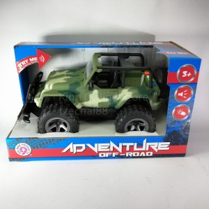 4WD Adventure Off Road Plastic Toy Sound Light Car Collection Jeep Model Gift