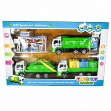 Sanitation Truck Toys Play Set A Recycle Truck Oil Service Station Gift