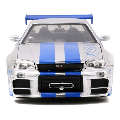 Jada 1:24 Fast & Furious Die-Cast Brian's Nissan Skyline GT-R R34 Car Model Collection
