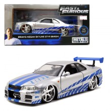 Jada 1:24 Fast & Furious Die-Cast Brian's Nissan Skyline GT-R R34 Car Model Collection