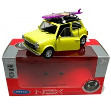 Welly 1:34-1:39 Die-cast Mini Cooper 1300 Surfboard Car Yellow Model with Box Collection