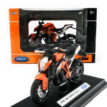 Welly 1:18 Die-cast KTM 1290 Super Duke R Motorcycle Orange Model with Box Collection