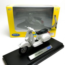 Welly 1:18 Die-cast 2016 Vespa PX Scooter Motorcycle White Model with Box Collection