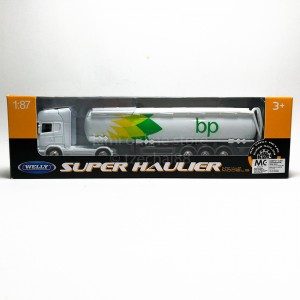 Welly 1:87 Die-cast Scania V8 R730 BP Oil Tanker Truck White Model with Box Collection
