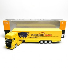 Welly 1:87 Die-cast Scania V8 R730 Container Truck Yellow Model with Box Collection