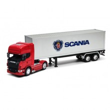 Welly 1:32 Die-cast Scania V8 R730 Tractor Trailer Container Truck Red Model with Box