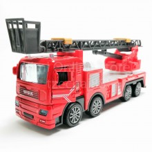 Fire Ladder Truck 1:50 Die-cast Red Model with Box Collection New Gift
