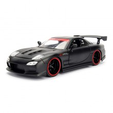 Jada 1:24 JDM Tuners Die-Cast 1993 Mazda RX-7 Car Matte Black Model Collection