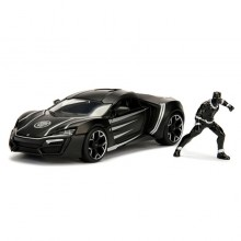 Jada 1:24 Die-Cast Hollywood Rides Marvel Lykan Hypersport with Black Panther Model Collection