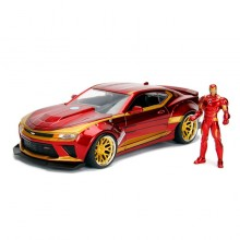 Jada 1:24 Die-Cast Hollywood Rides Marvel 2016 Chevrolet Camaro SS with Iron Man Model Collection