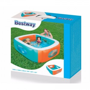 Bestway 51132 Vinyl Kids' Play Window Swim Pool Coloful 1.68M x 1.68M x 56cm