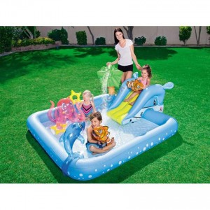 Bestway 53052 Inflatable Fantastic Aquarium Play Pool 2.39m x 2.06m x 86cm Fish Splash Play Paddling Pool Toy Water Spray Slide