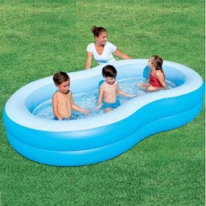 Bestway 54117 The Big Lagoon Family Pool 2.62m x 1.57m x 46cm Summer Garden Kids Family Swimming Pool