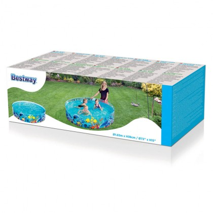 Bestway 55030 Fill 'N Fun Odyssey Pool Kids Rigid Wall Vinyl 1.83m x 38cm Garden Summer Swimming Paddling Pool