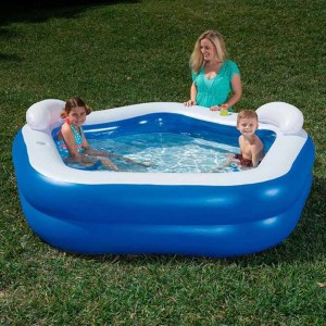 Bestway 54153 Family Fun Pool 575L Kids' Play Pool 2.13m x 2.06m x 69cm Interactive Padding Inflatable Swimming Pool