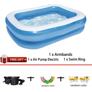 Bestway 54005 Blue Rectangular Family Pool 2.01m x 1.50m x 51cm Summer Garden Kids Family Swimming Pool
