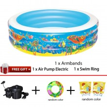 Bestway 51122 Inflatable Ocean World Play 3-Ring Pool 1.96m x 53cm Summer Garden Kids Family Swimming Pool
