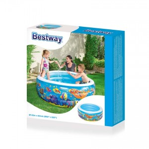 Bestway 51121 Inflatable Ocean World Play 3-Ring Pool 1.52m x 51cm Summer Garden Kids Family Swimming Pool