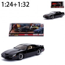 Jada 1:24 + 1:32 Set Die-Cast Hollywood Rides K.I.T.T. 1982 Pontiac Firebird (Knight Rider) Car Black Model Collection