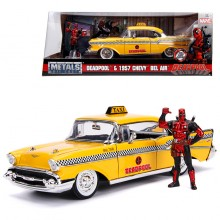 Jada 1:24 Die-Cast Hollywood Rides Deadpool Chevy Bel Air Taxi W Deadpool Figure Car Yellow Model Collection