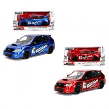 Jada 1:24 JDM Tuners Die-Cast 2012 Subaru Impreza WRX STI Car Red + Blue Set Model Collection