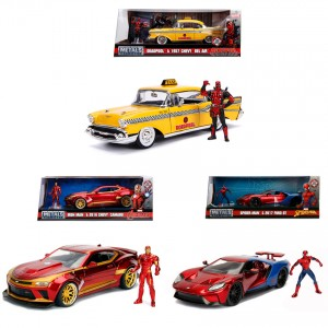 Jada 1:24 Die-Cast 3 in 1 Set Deadpool + Iron Man + Spider-Man Car Hollywood Rides Model Collection