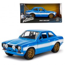 Jada 1:24 Fast & Furious 6 Die-Cast Brian's 1970 Ford Escort MK 1 Car Blue Model Collection
