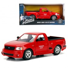 Jada 1:24 Fast & Furious 1 Die-Cast Brian's Ford F 150 SVT Lightning Car Red Model Collection