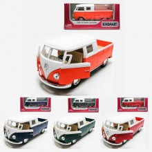 Kinsmart 1:34 Die-cast 1963 Volkswagen Bus Double Cab Pickup Car Model with Box Collection