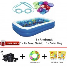 Bestway 54177 Inflatable 3D Undersea Adventure Swimming Pool Free Gift 2.62m x 1.75m x 0.51m