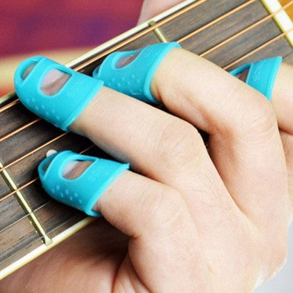 4 pcs Silicone Guitar Finger Protector Finger Guard Cover Beginner 4 Colors New