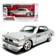 Jada 1:32 JDM Tuners Die-Cast 1971 Nissan Skyline 2000 GT-R (KPGC10) Car Silver Model Collection