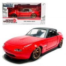 Jada 1:32 JDM Tuners Die-Cast 1990 Mazda Miata Car Red Model Collection