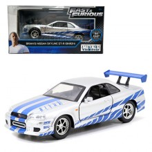 Jada Fast & Furious 1:32 Diecast Brian's Nissan Skyline GT-R (BNR34) Car Silver Model Collection