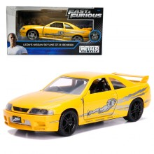 Jada Fast & Furious 1:32 Diecast Leon's Nissan Skyline GT-R (BCNR33) Car Yellow Model Collection