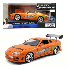 Jada 1:24 Fast & Furious Die-Cast Brian's Toyota Supra Car Orange Model Collection