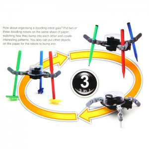 Cute Sunlight 3 in 1 Doodling Robot Fun Mechanics Kit DIY Evironmental Educational Enjoyable