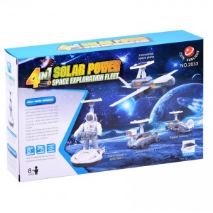 Cute Sunlight 4 in 1 Eductional DIY Solar Power Space Exploration Fleet Toy Environmental Protection Energy Savins Kit