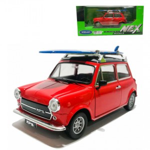 Welly 1:24 Die-cast Mini Cooper 1300 Car Surfboard Model Red with Box Collection Christmas New Gift